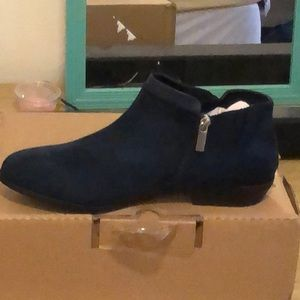 Navy Blue faux suede/leather bootie